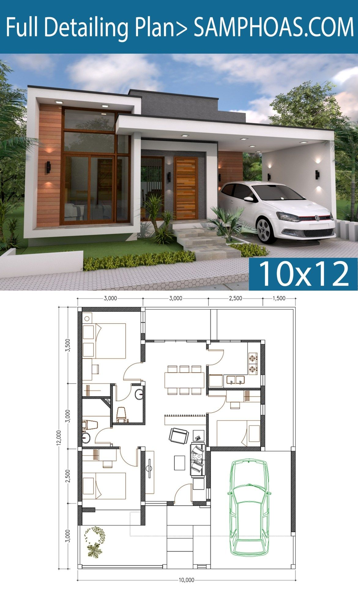 3 Bedrooms Home Design Plan 10x12m Samphoas Plansearch Bungalow House Plans Simple House Design Modern Style House Plans