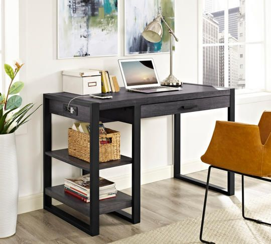 Micah USB Charcoal Desk   Art Van Furniture