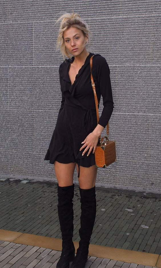 9ad996f64b933 Frankie Gaff from Made In Chelsea Spotted in the SilkFred  Black Wrap Frill  Mini Dress  .....celebrity
