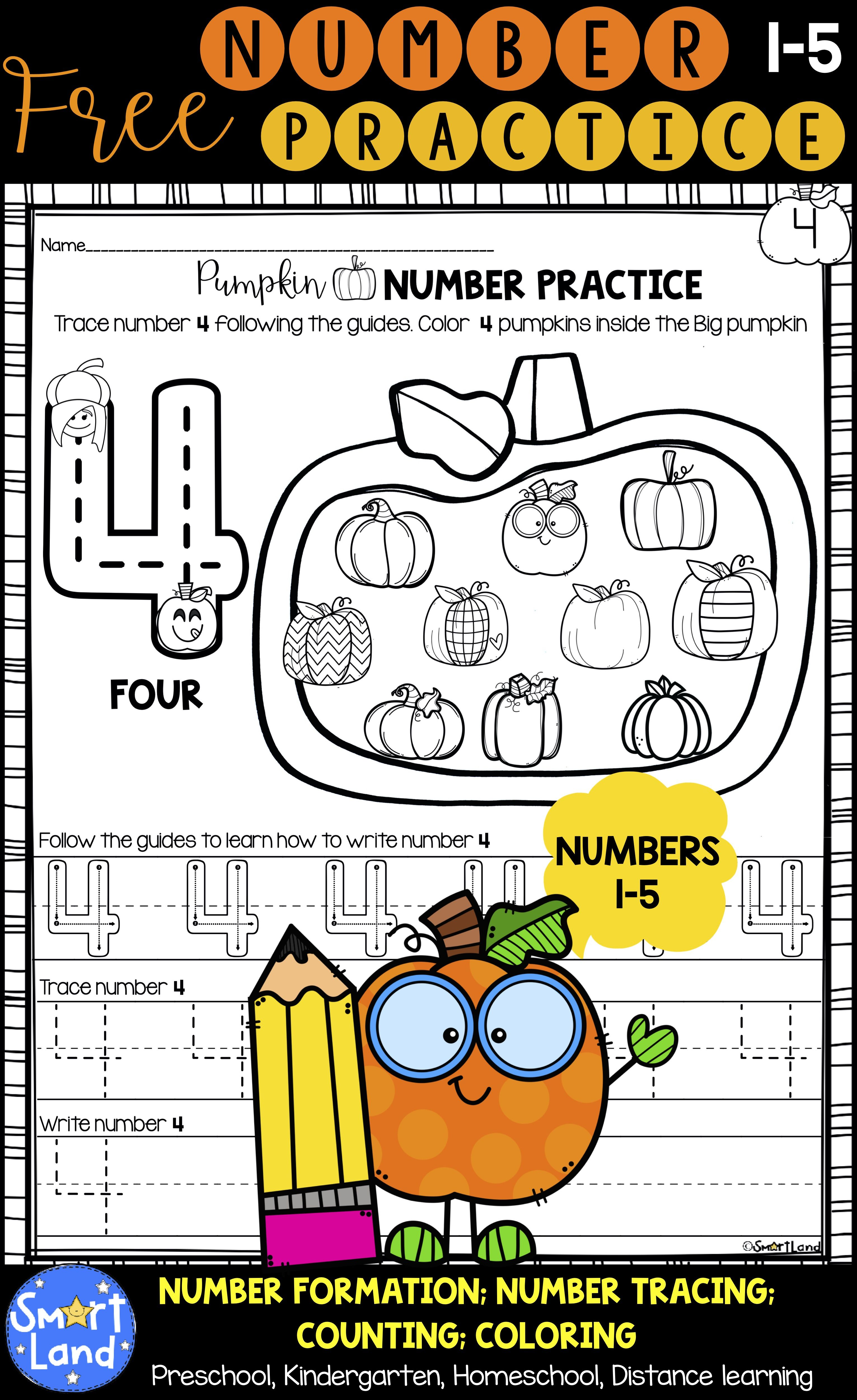 Free Number Practice 1 5 Handwriting And Counting