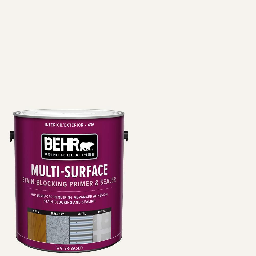Behr 1 Gal White Acrylic Interior Exterior Multi Surface Stain Blocking Primer And Sealer 43601 The Home Depot Behr Ultra Interior Paint Exterior Paint