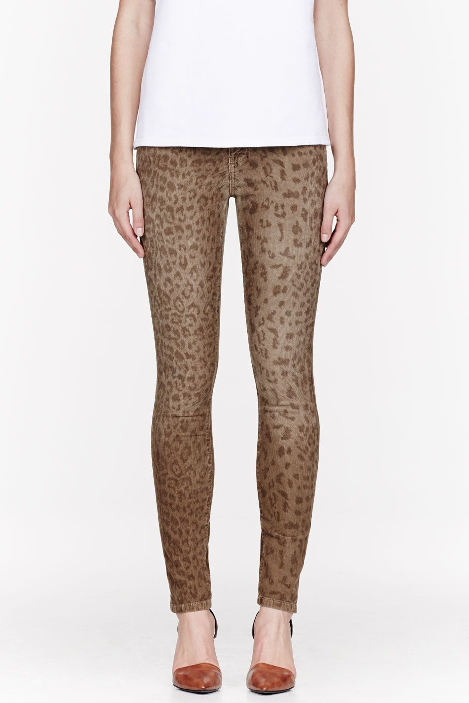 Current Elliott Khaki Corduroy Leopard Skinny Jeans