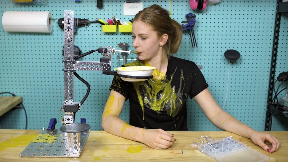 Simone Giertz's Latest Invention: A Robot That Spills Soup All Over Her |  Nerdist | Make a robot, Homemade robot, Robot