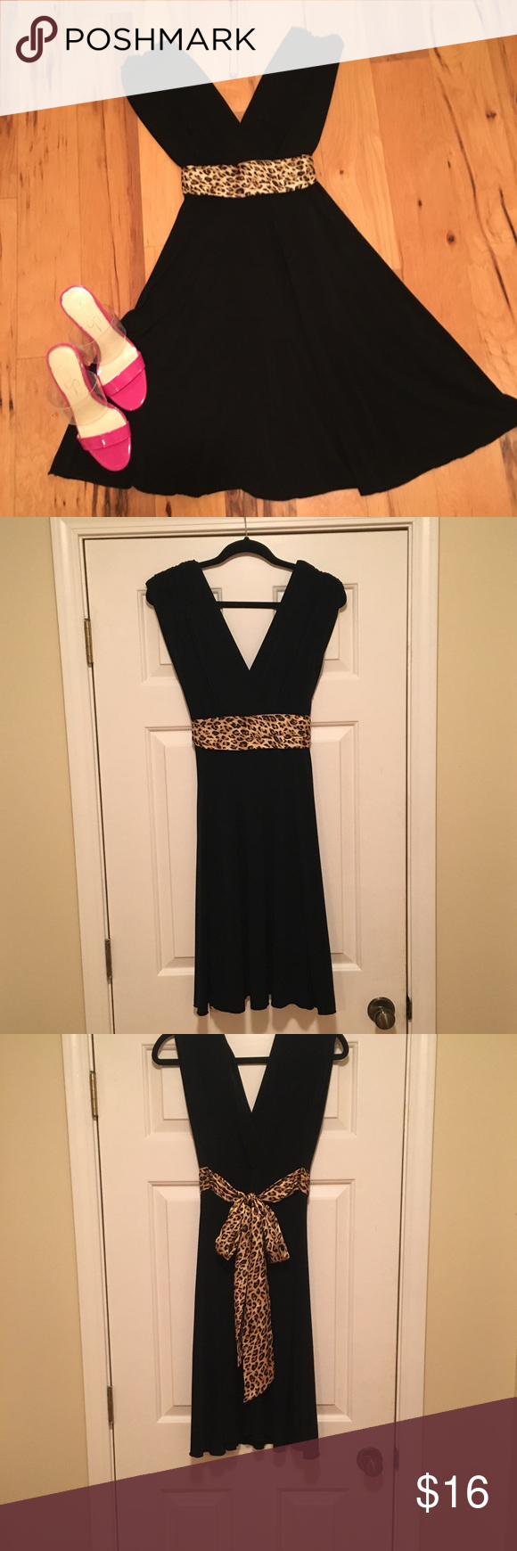 Roulette Black Dress With Leopard Tie At Waist Black Dress Dresses Night Dress [ 1740 x 580 Pixel ]