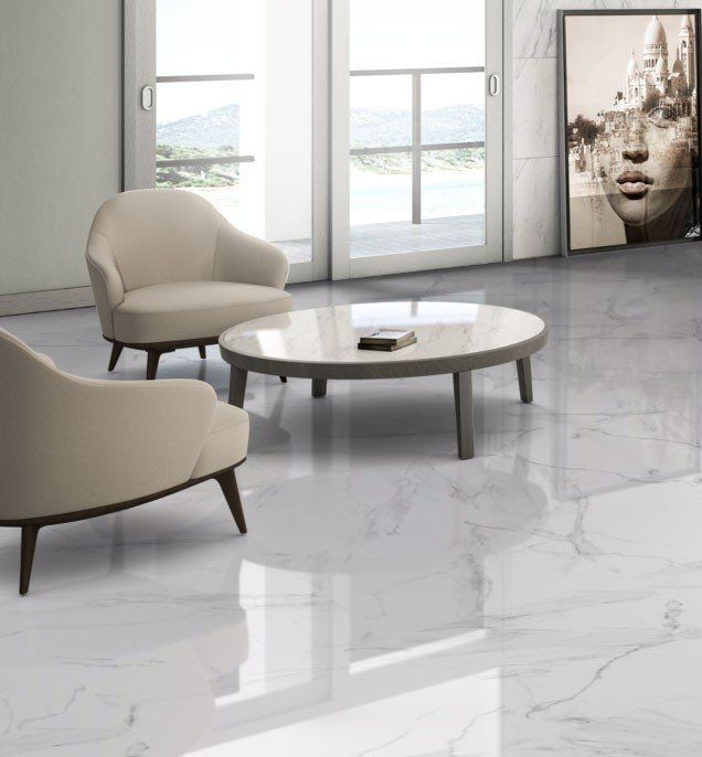 White Marble Effect Gloss Porcelain Floor Tile White Marble