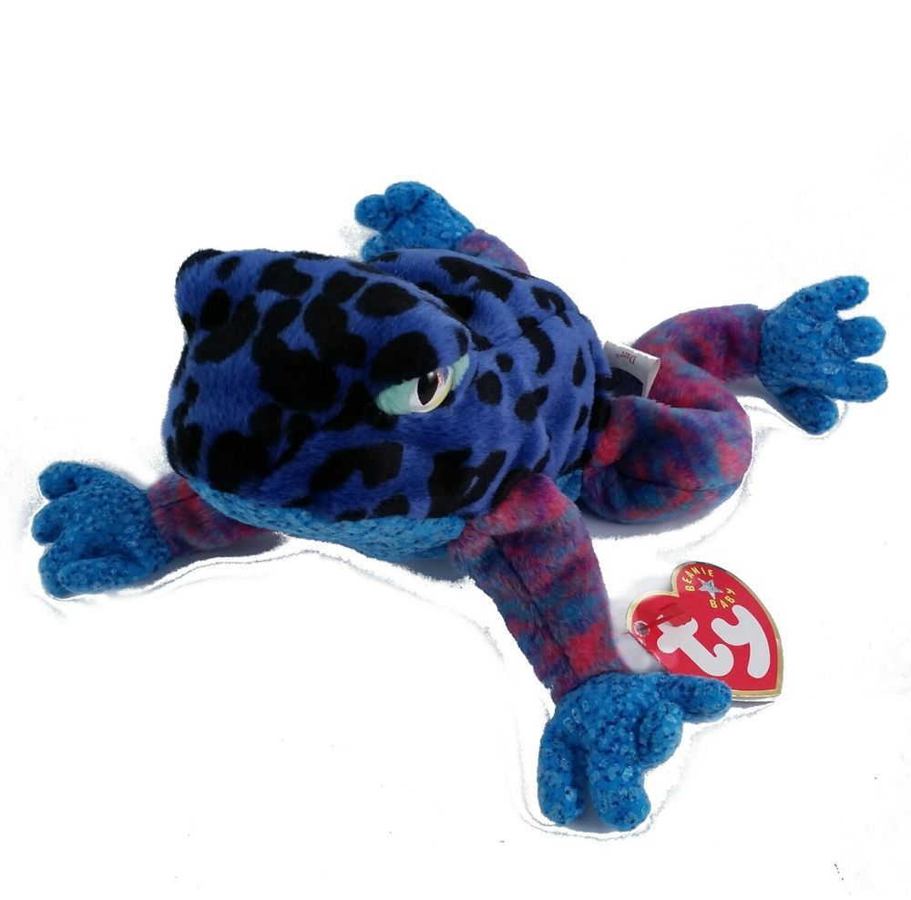 95d2c68a919 DART the Frog - Ty Beanie Baby Plush with Tag Stuffed Animal Toy - Purple  Blue