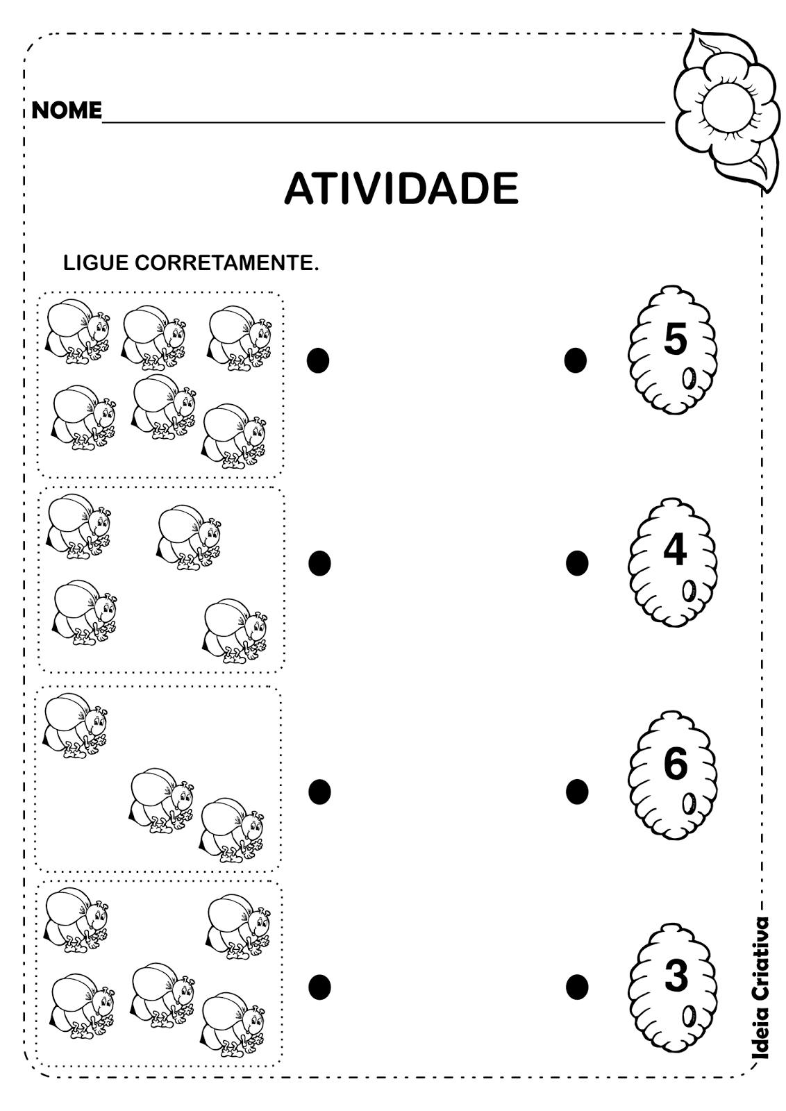 Atividade Matemática Educação Infantil Animais de Jardim | Educação ...