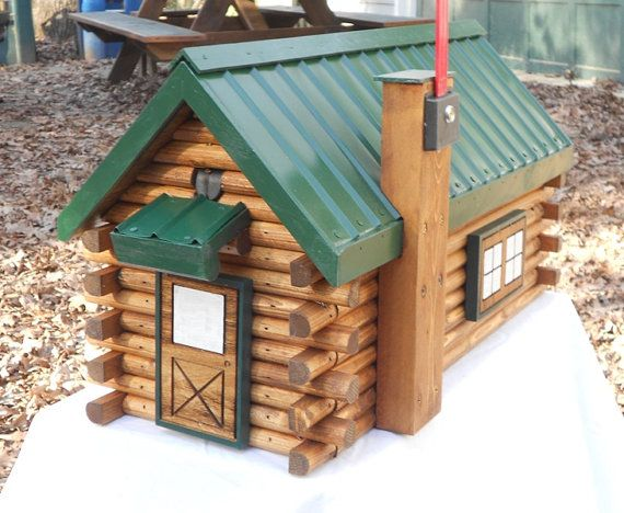 Log Cabin Mailbox Handcrafted Green Or Brown Roof By CarvedByHeart #Etsy  #CabinDecor #Mailboxes