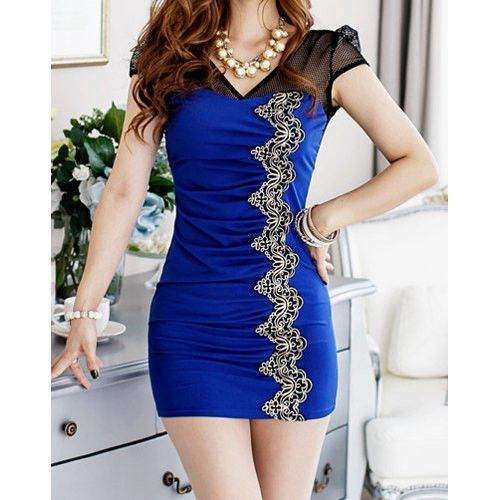 Stylish V-Neck Lace Embroidered Bodycon Short Sleeve Women's Dress Dispatch: . FREE SHIPPING