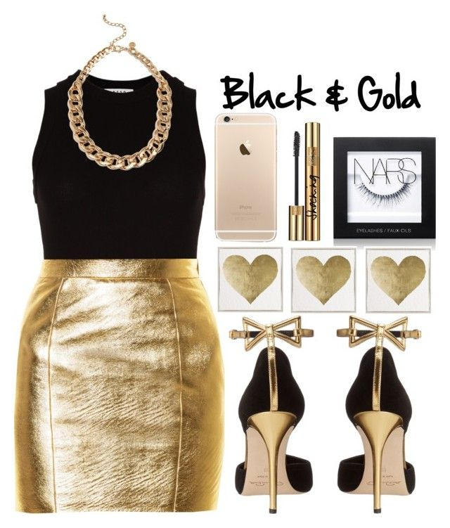 """Black & Gold Style"" by kinakream ❤ liked on Polyvore featuring Getting Back To Square One, Yves Saint Laurent, Oscar de la Renta, NARS Cosmetics and Oliver Gal Artist Co."