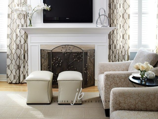 Fireplace Tv Between Windows And Curtains On Either Side Contemporary Fireplace Fireplace Between Windows Contemporary Fireplace Designs