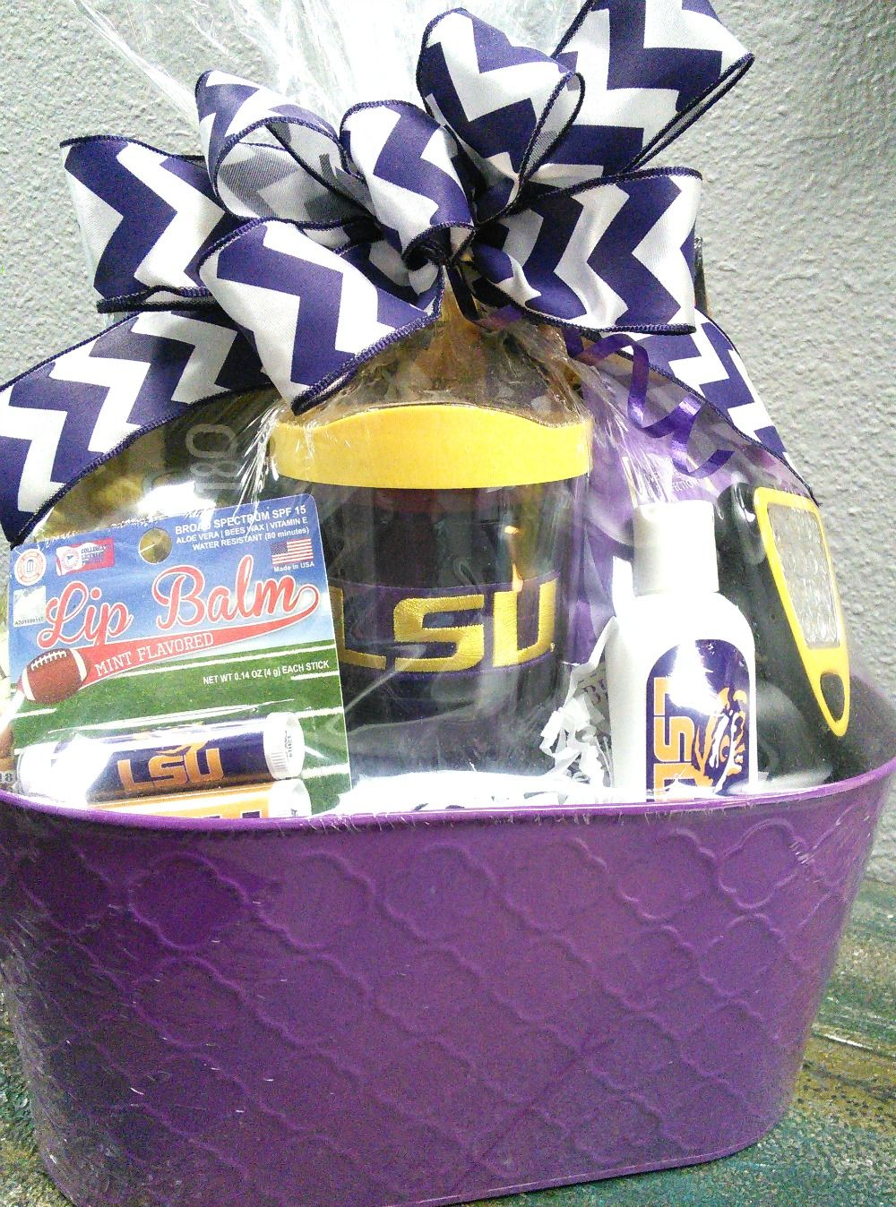 LSU custom Collegiate themed gift basket. Includes tumbler with LSU ...