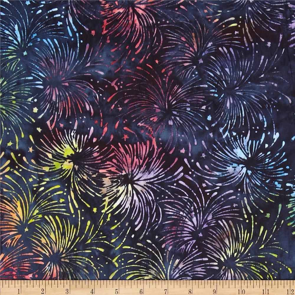 Island Batik Quilted in Honor Batik Fireworks Multi from @fabricdotcom  Designed by Kathy Engle for Island Batik, this fabric is perfect for quilting, apparel and home décor accents. Colors include red, green, purple, yellow and navy.