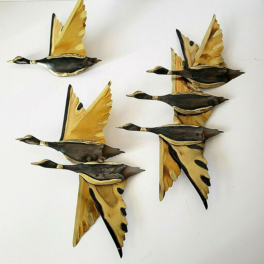 Vintage Mcm Metal Flying Geese Ducks Wall Hanging Decor Set Of 3 Cat Wall Art Hanging Wall Art Cat Wall