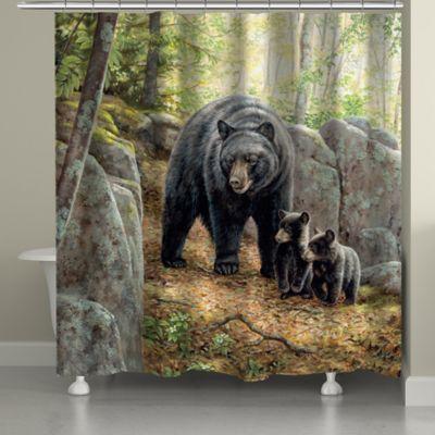 Laural Home Black Bear With Cubs Shower Curtain Multi Black Bear