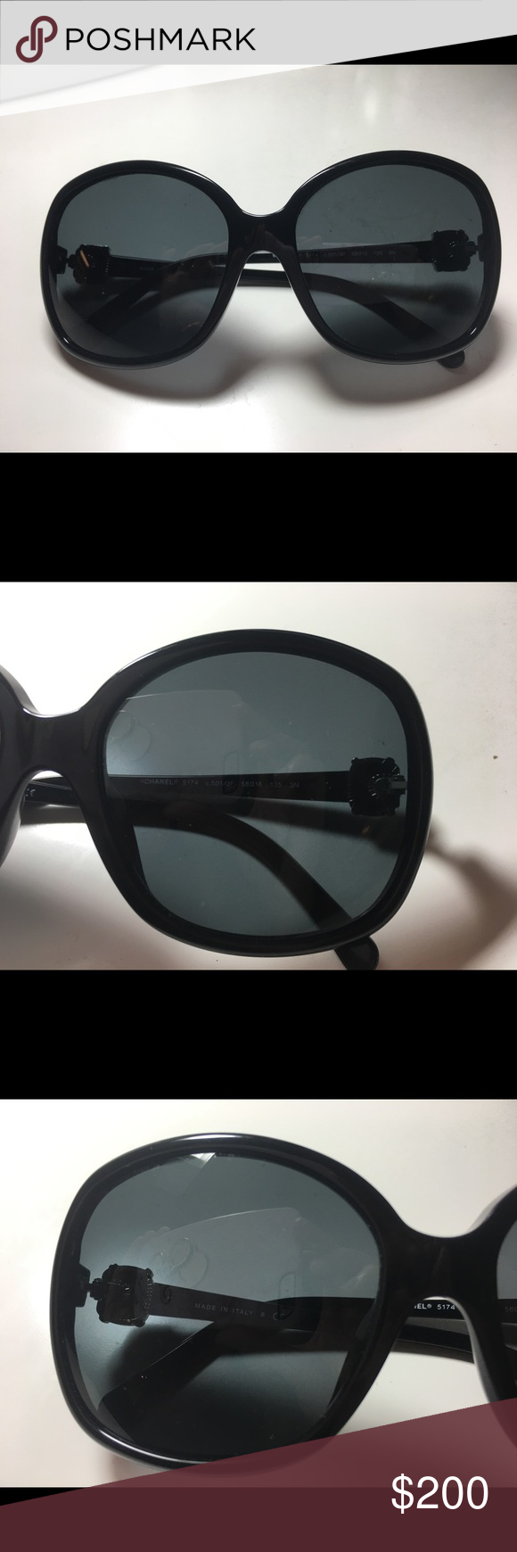 2a760d9a2c434 CHANEL WOMEN S 5174 CC Logo Sunglasses black Chanel style 5174 CC Logo  Oversized Black color Sunglasses