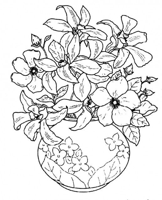 Beautiful Flowers In A Beautiful Flowering Vase Coloring Pages