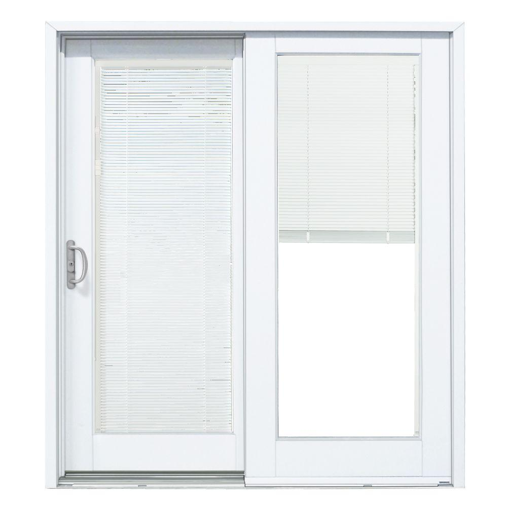 Mp Doors 60 In X 80 In Smooth White Left Hand Composite Pg50 Sliding Patio Door With Built In Blinds G5068l002wl50 The Home Depot Sliding Doors Interior Patio Doors Vinyl Sliding Patio Door