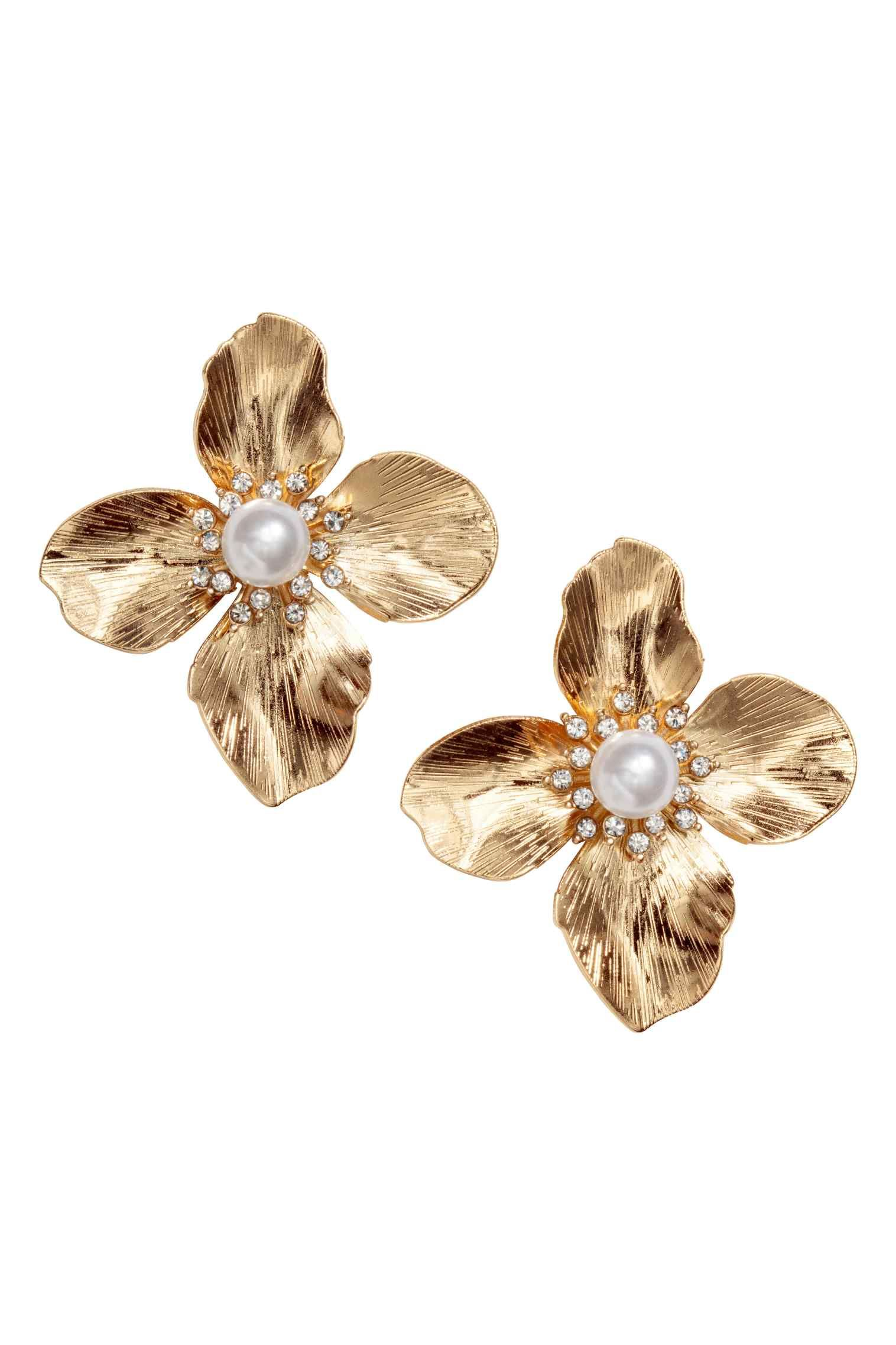 Flower Shaped Earrings With Plastic Sparkly Stones Length 4 5 Cm