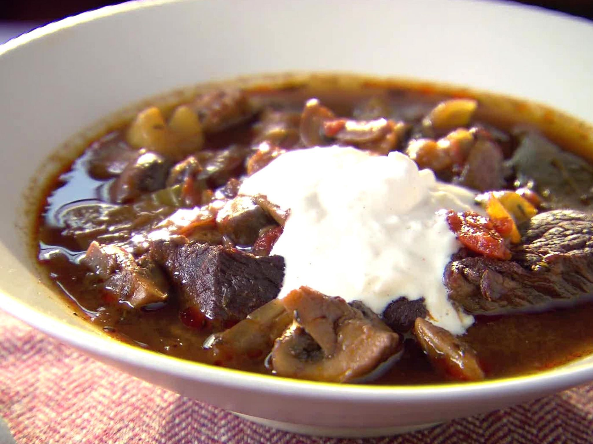 Beef Stew With Red Wine Mushrooms And Horseradish Cream Recipe Food Network Recipes Food Recipes