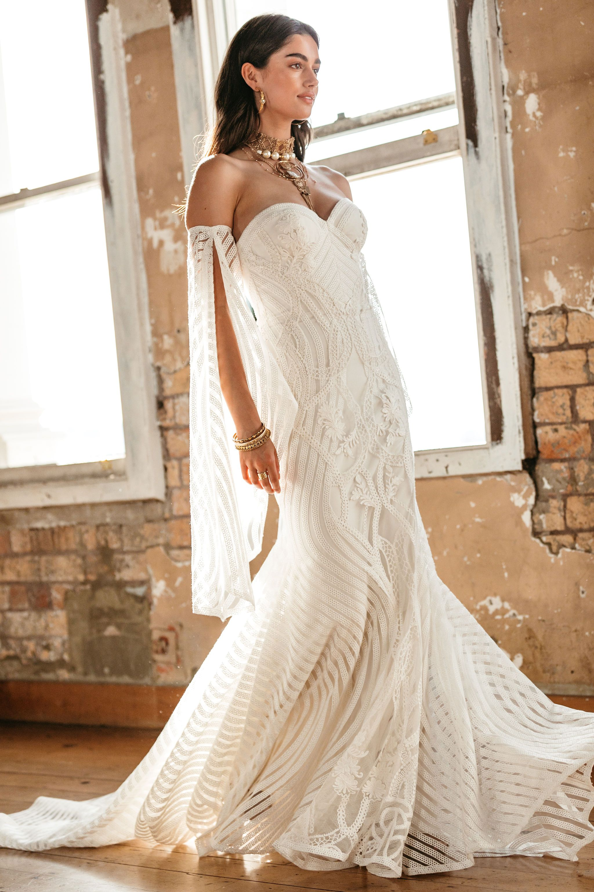 Shanti Rue De Seine Wedding Dress Corded Lace Wedding Dress Boho Style Wedding Dress [ 3072 x 2048 Pixel ]