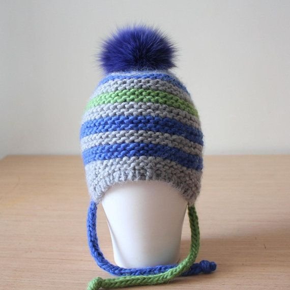7514c7a6fb4 Kids peruvian knit hat with braids Fur pom pom wool hat Baby ...