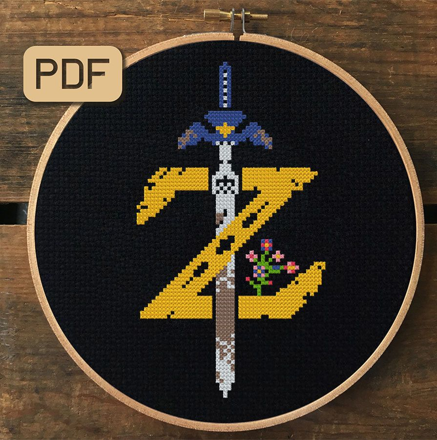 Photo of The Legend of Zelda Logo, Cross Stitch Pattern, Video Game Cross Stitch PDF, Instant Download