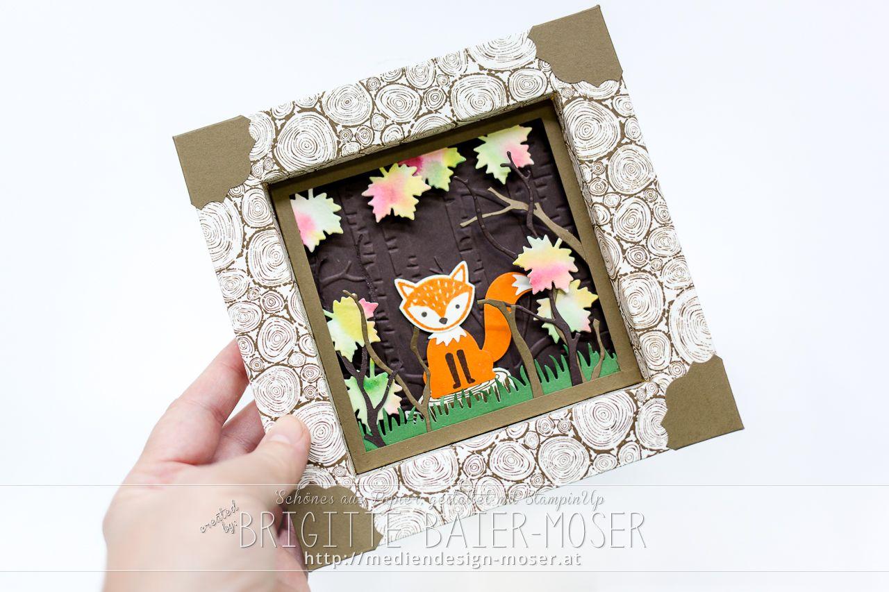 handgemachter Bilderrahmen aus Papier mit Fuchs und Waldmotiv ...