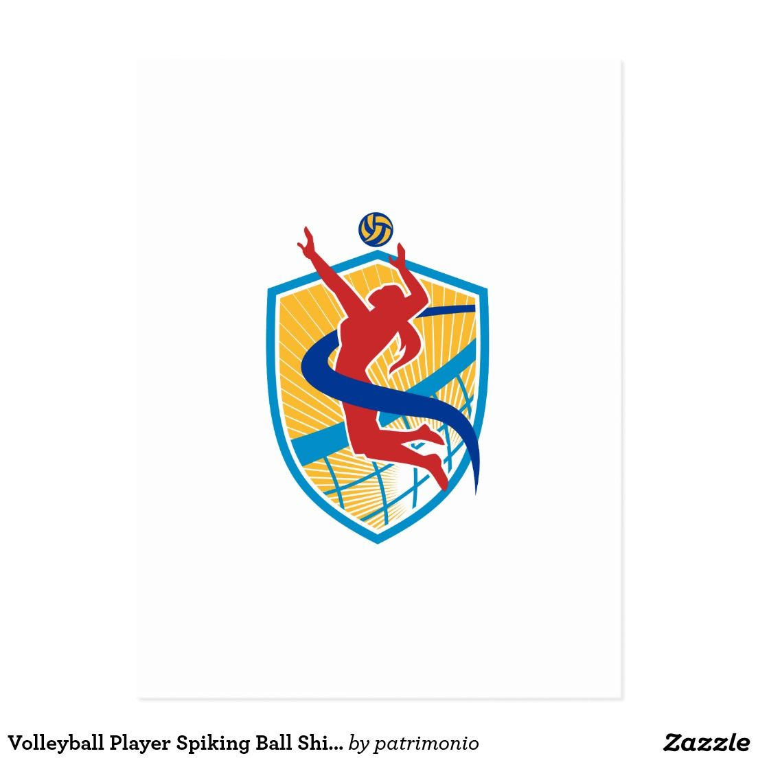 Volleyball Player Spiking Ball Shield Postcard Illustration Of A Volleyball Player Spiker Spiking Hitting Ball Set Inside Crest Shield With Net Done In Re Volei