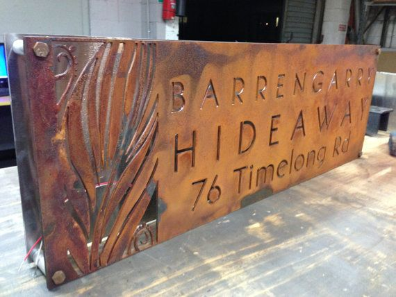 corten rusted steel led illuminated house business sign plaque d co acier corten. Black Bedroom Furniture Sets. Home Design Ideas