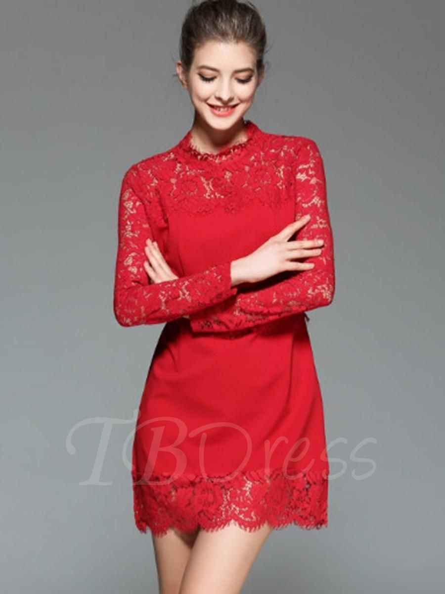 Tbdress tbdress elegant long sleeve hollow aline womens lace