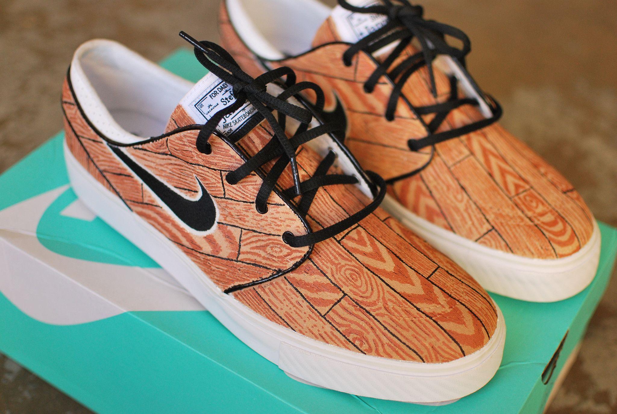 317084da6d These custom Nike Zoom Stefan Janoski skate shoes features my hand painted  woodgrain design. The