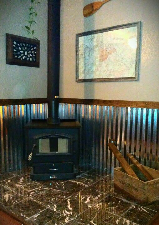 Just Installed This Wood Stove We Used Marble Tile Corrugated Metal Sheeting And Unstained
