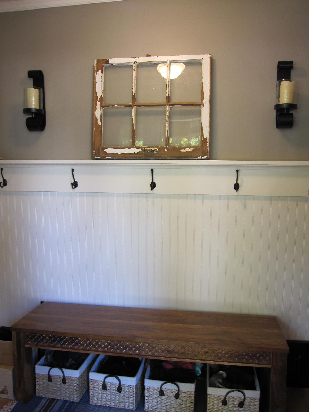 Our Front Hall Redo Added Beadboard Hooks Bench With