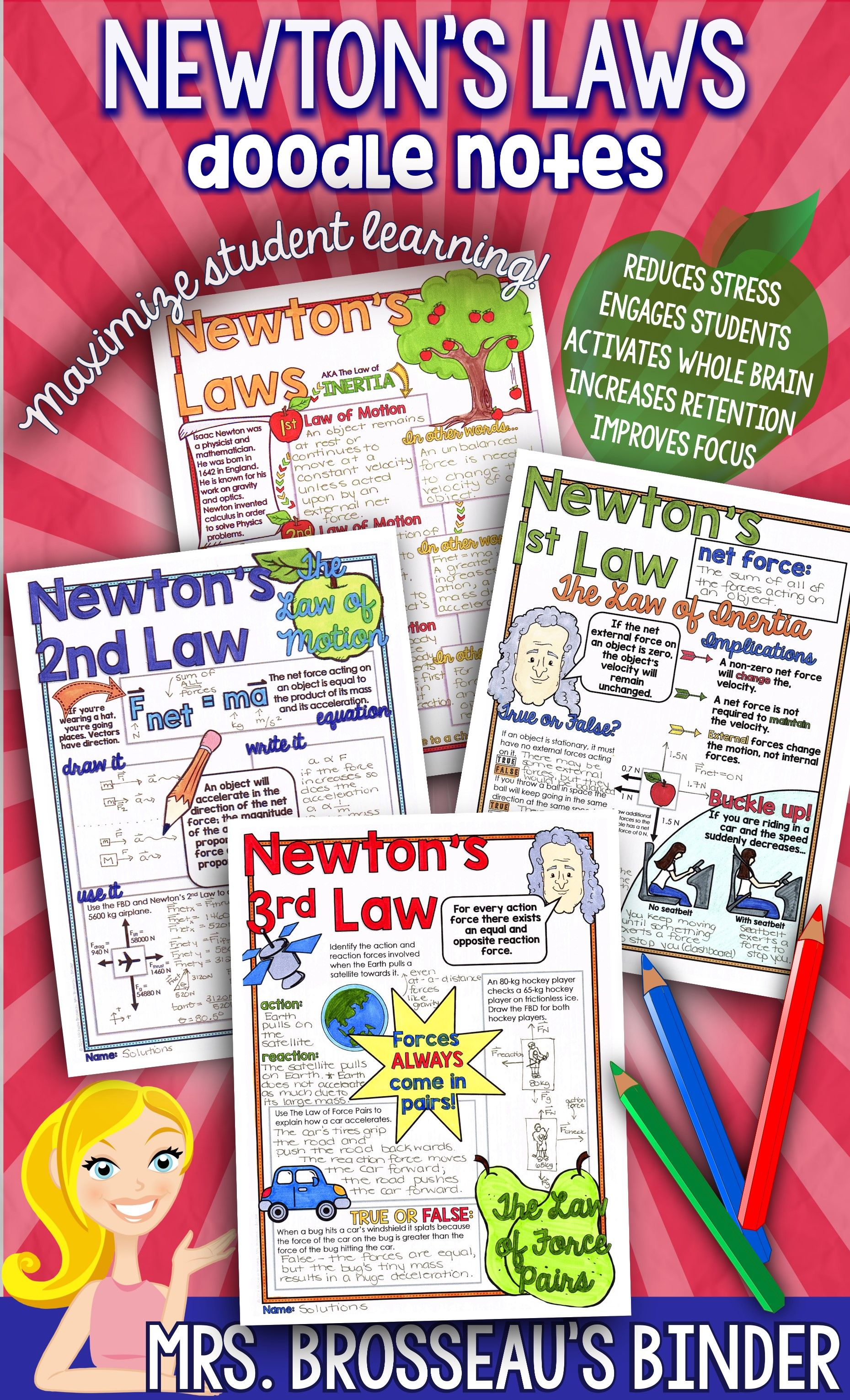 Newton S 3 Laws Of Motion Science Doodle Notes For
