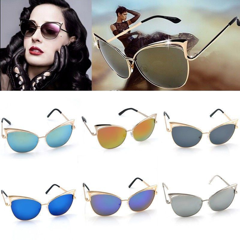 1ec57c35e Women'S Gold Retro Cat Eye Sunglasses Classic Designer Vintage Fashion  Shades