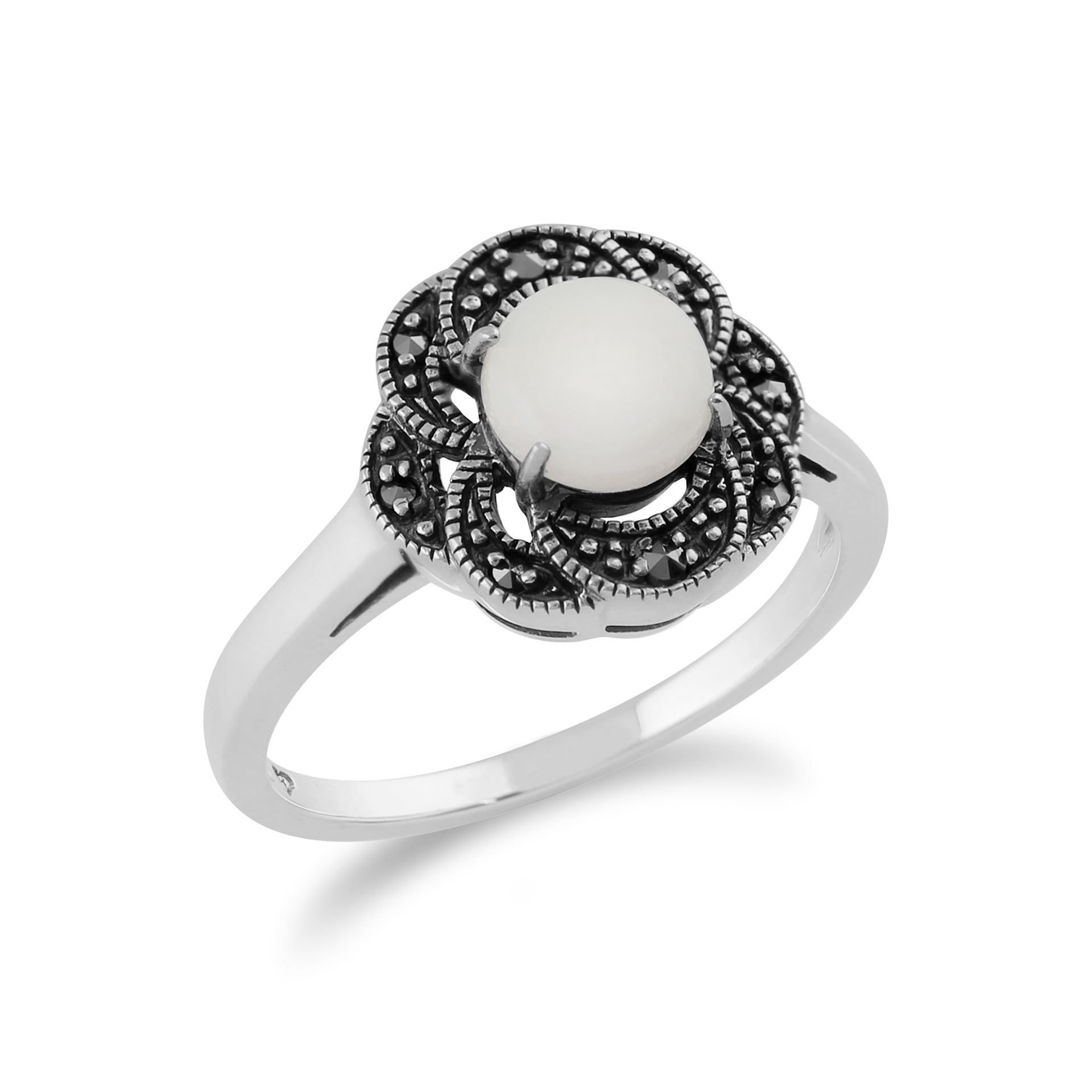 Fine Gemstone Rings Gemondo Sterling Silver 0.26ct Opal & Marcasite Art Deco Ring Fine Rings