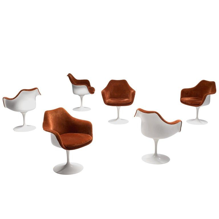 Set Of Six Knoll Armchairs Eero Saarinen Tulip Dining Terracotta