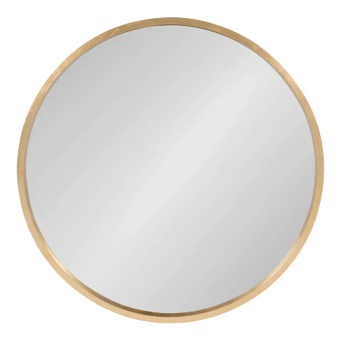 21 6 Travis Round Wood Accent Wall Mirror Gold Kate And Laurel