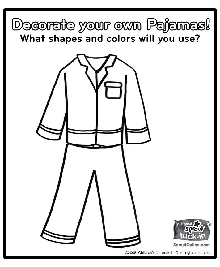 pajama theme coloring pages - photo#1