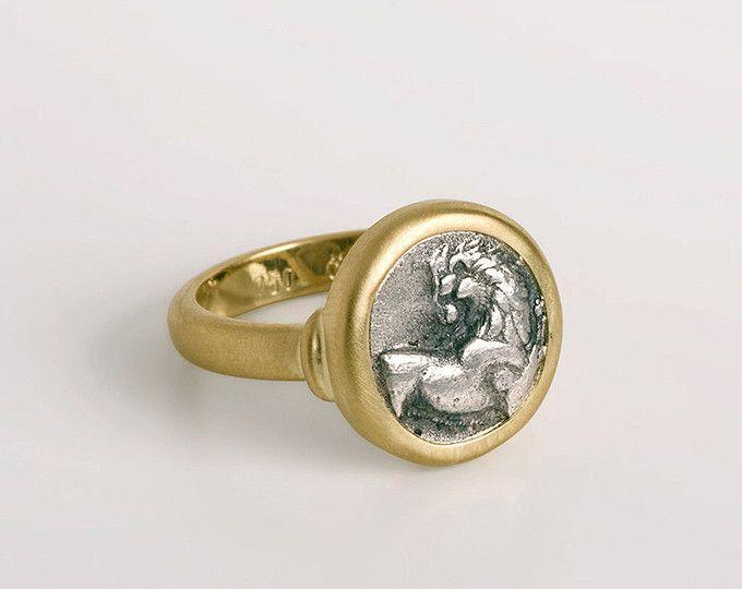 315b9600fc025 Small Lion head ring, Greek coin band, Cherronesos Ancient coin ...