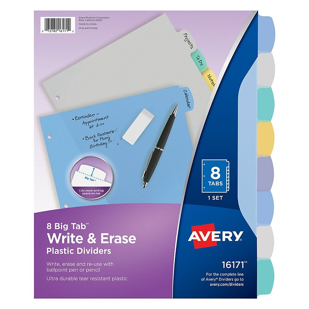 Avery Durable Write-On Plastic Dividers With Erasable Tabs