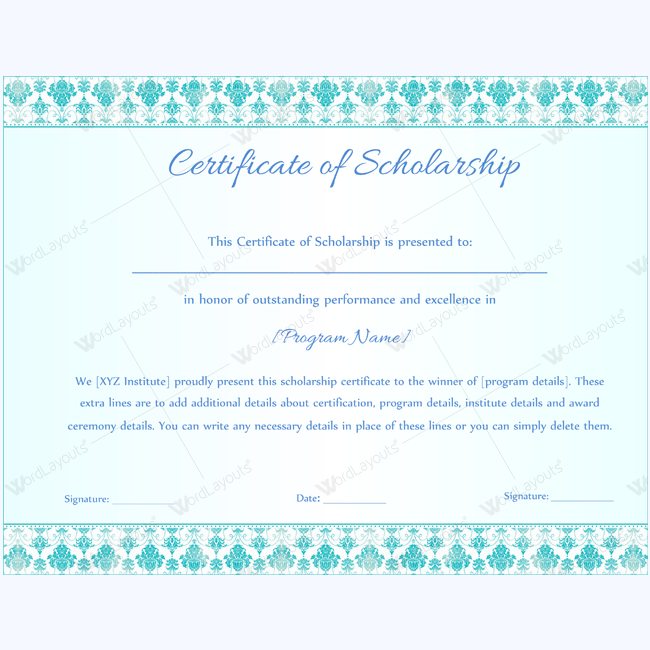 Certificate Of Scholarship   Certificate Student Scholarships
