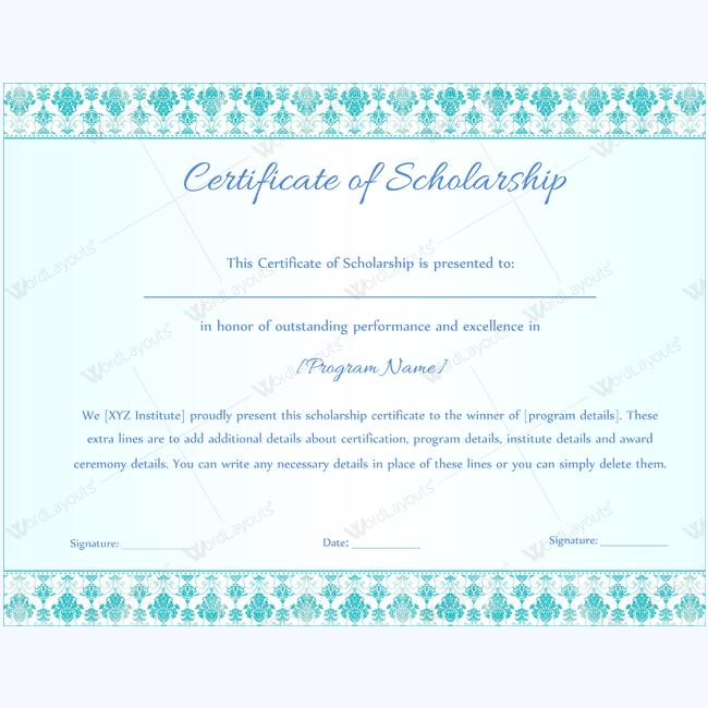 Scholarship certificate template scholarship certificate scholarship certificate template doc wordscholarshipawardcertificate awardcertificate sholarship scholarshiptemplate yelopaper Gallery
