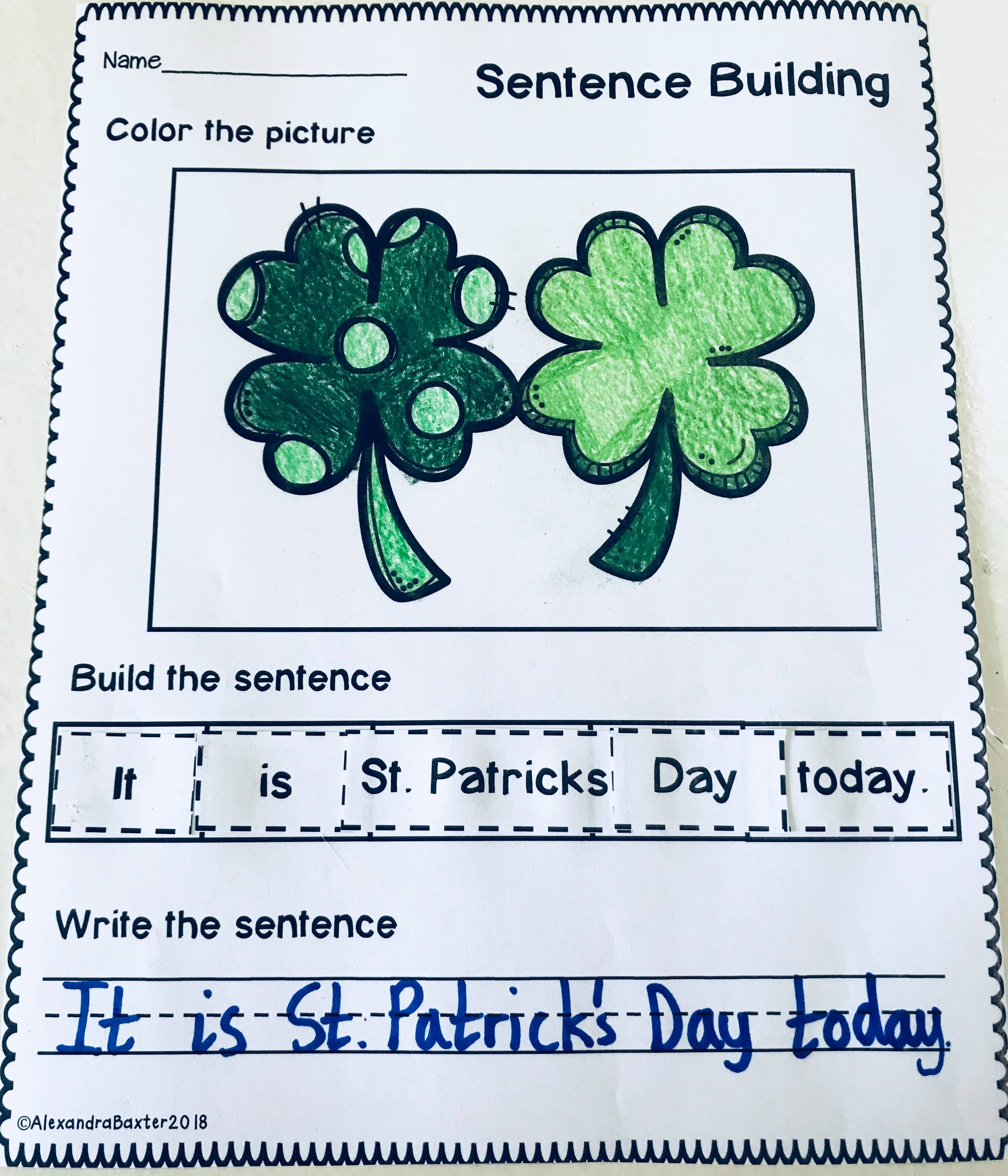 St Patrick S Day Sentence Building