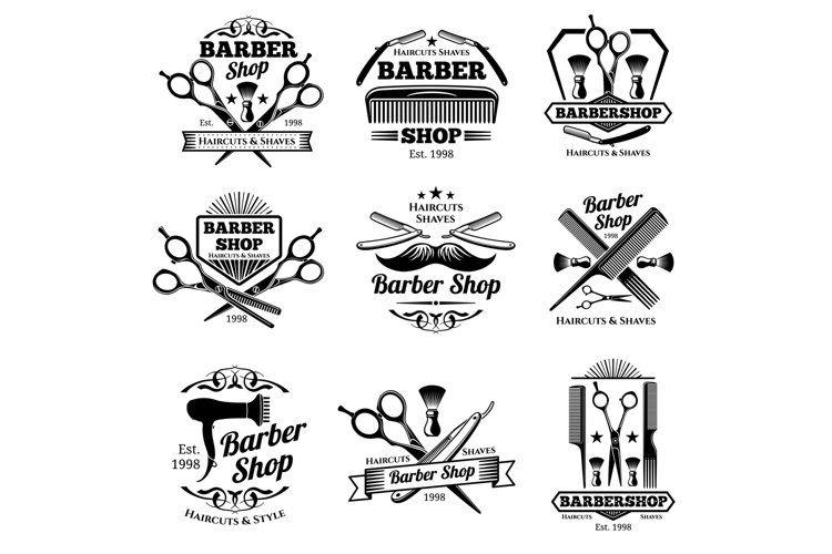 Vintage Barbershop Vector Emblems And Labels Barber Badges 891233 Illustrations Design Bundles In 2021 Barber Shop Vintage Barber Logo Barber Shop
