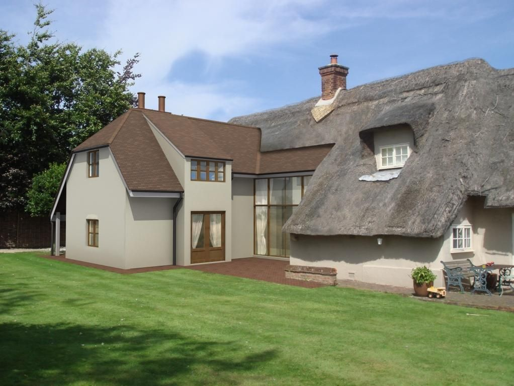 Thatch house extension cottage pinterest thatched for Cottage kitchen extensions