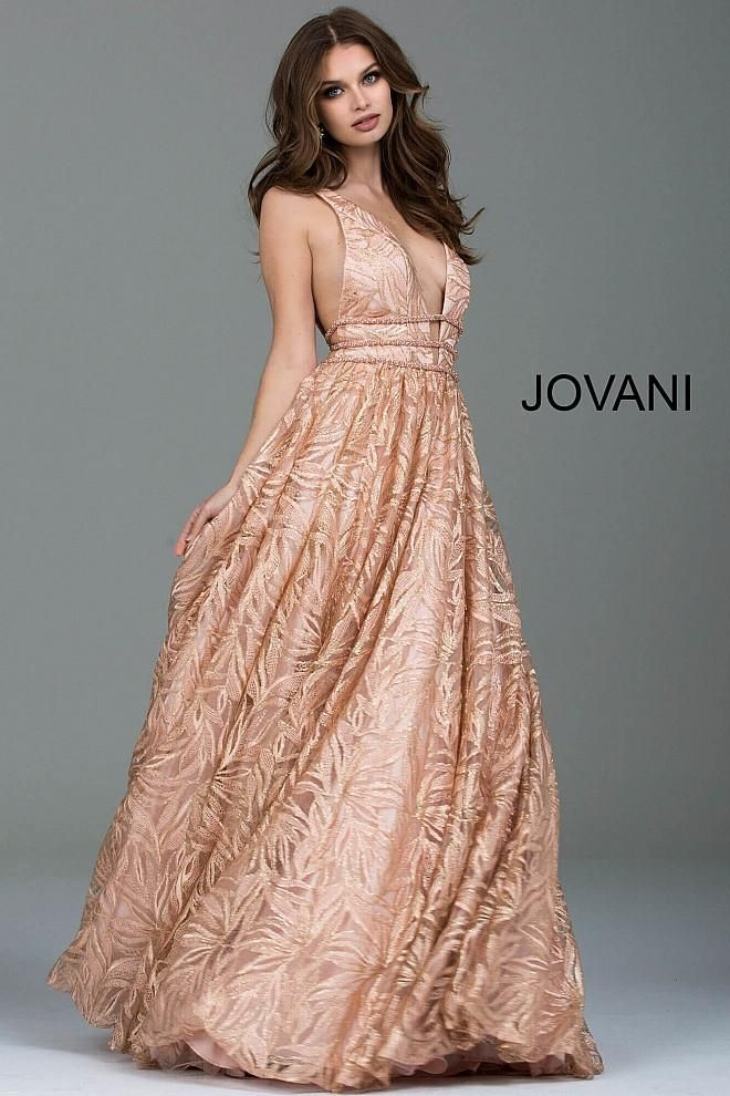 Gouden Cocktailjurk.Gorgeous Jovani Rose And Gold Print Ball Gown With Plunging Neckline