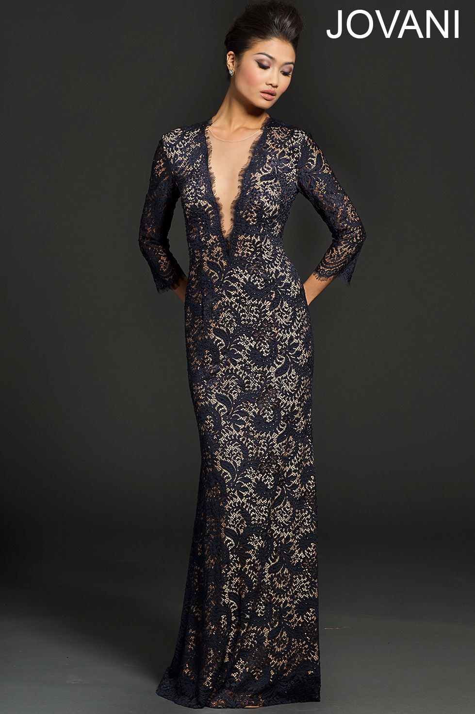 Lace long sleeve navy dress evening dresses gowns