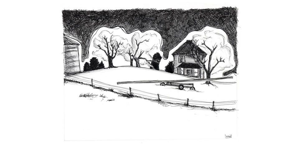 pen and ink drawing from a photo taken while driving around the midwest.